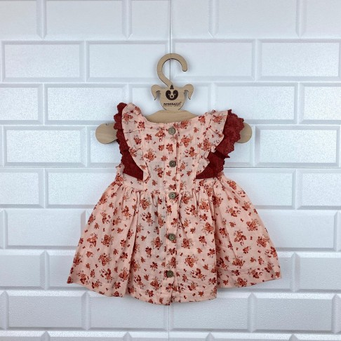 Güpür Detaylı Çiçek Desenli Elbise - Yavru Ağzı