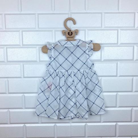 Bebe Yaka Ekose Elbise - Beyaz