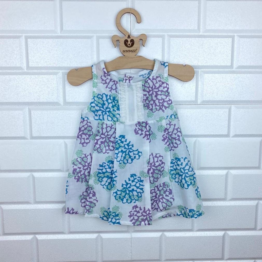 Büyük Çiçek Desenli Elbise - Lila