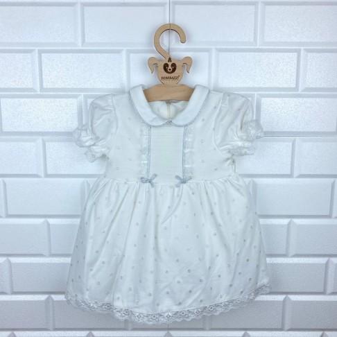 Bebe Yaka Simli Dantel Detaylı Elbise - Beyaz