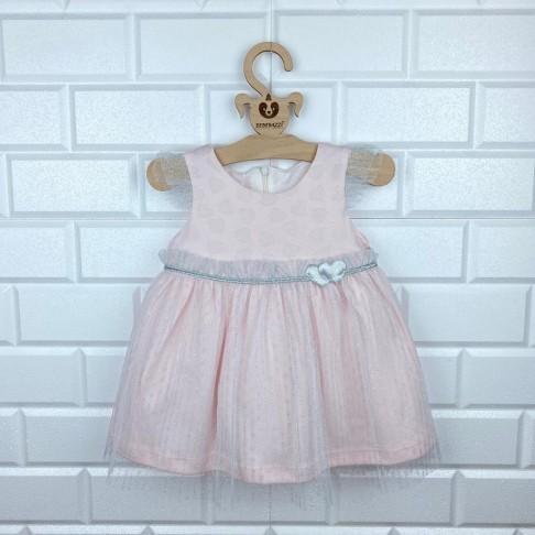 Simli Kalp Detaylı Tütülü Elbise - Pembe