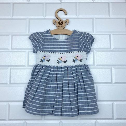 Kuş Nakışlı Çizgili Elbise - Mavi