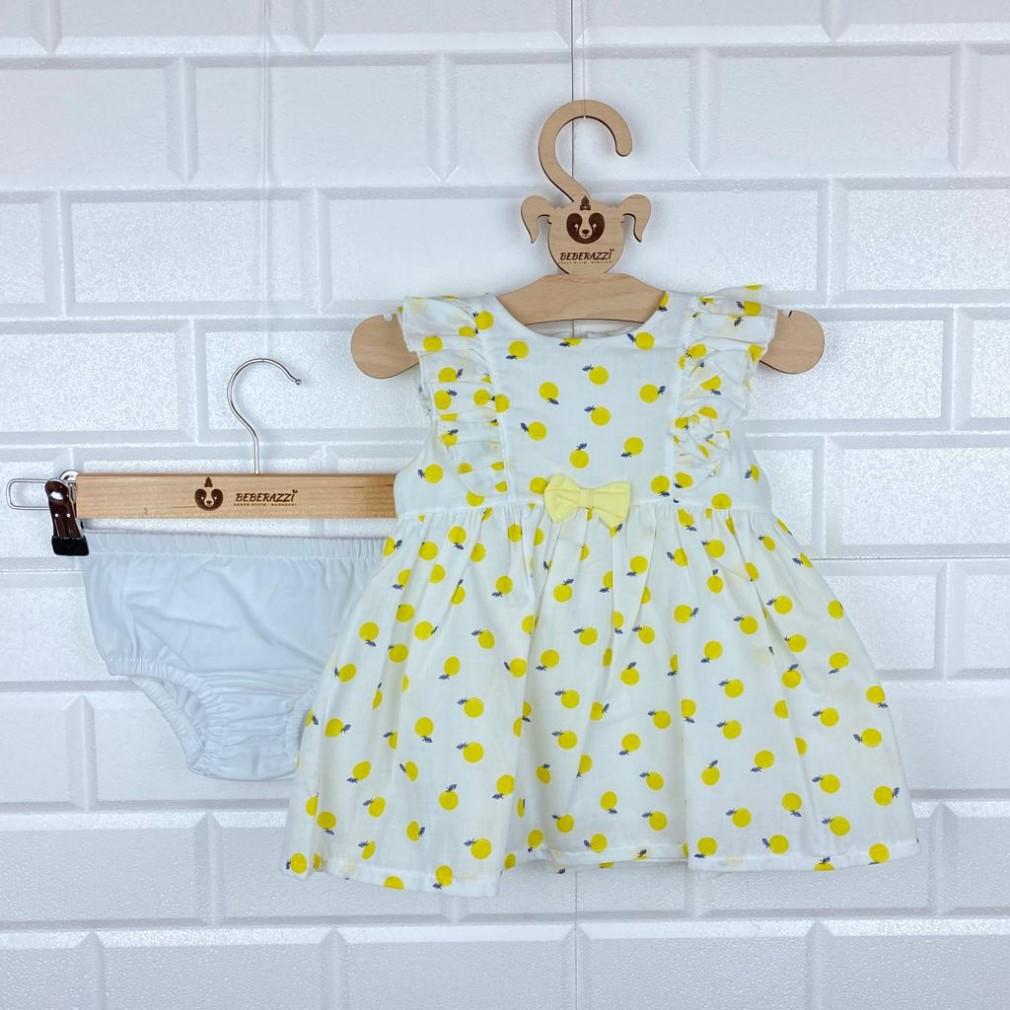 Limon Temalı Külotlu Elbise - Sarı