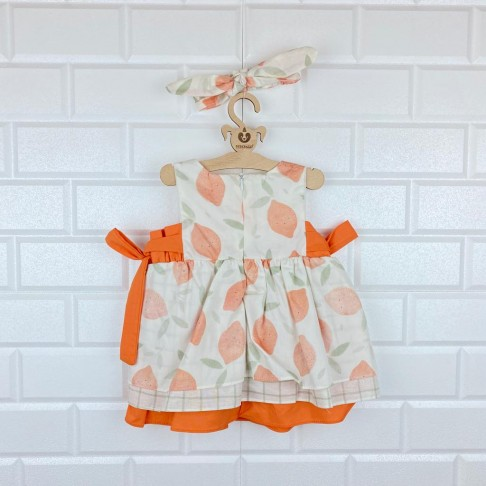 Limon Detaylı Şile Bezi İkili Takım Elbise - Turuncu