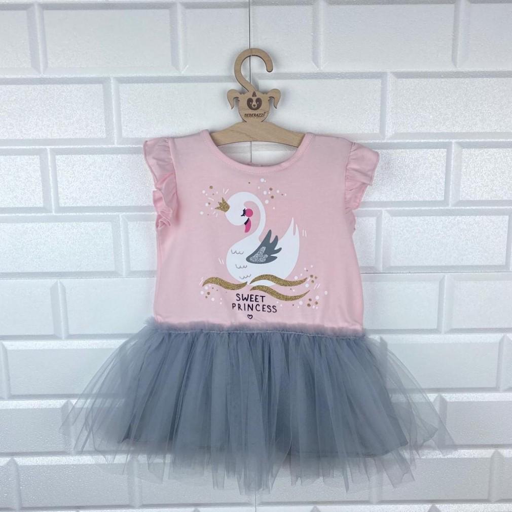 Kuğu Detaylı Tütülü Elbise - Pembe