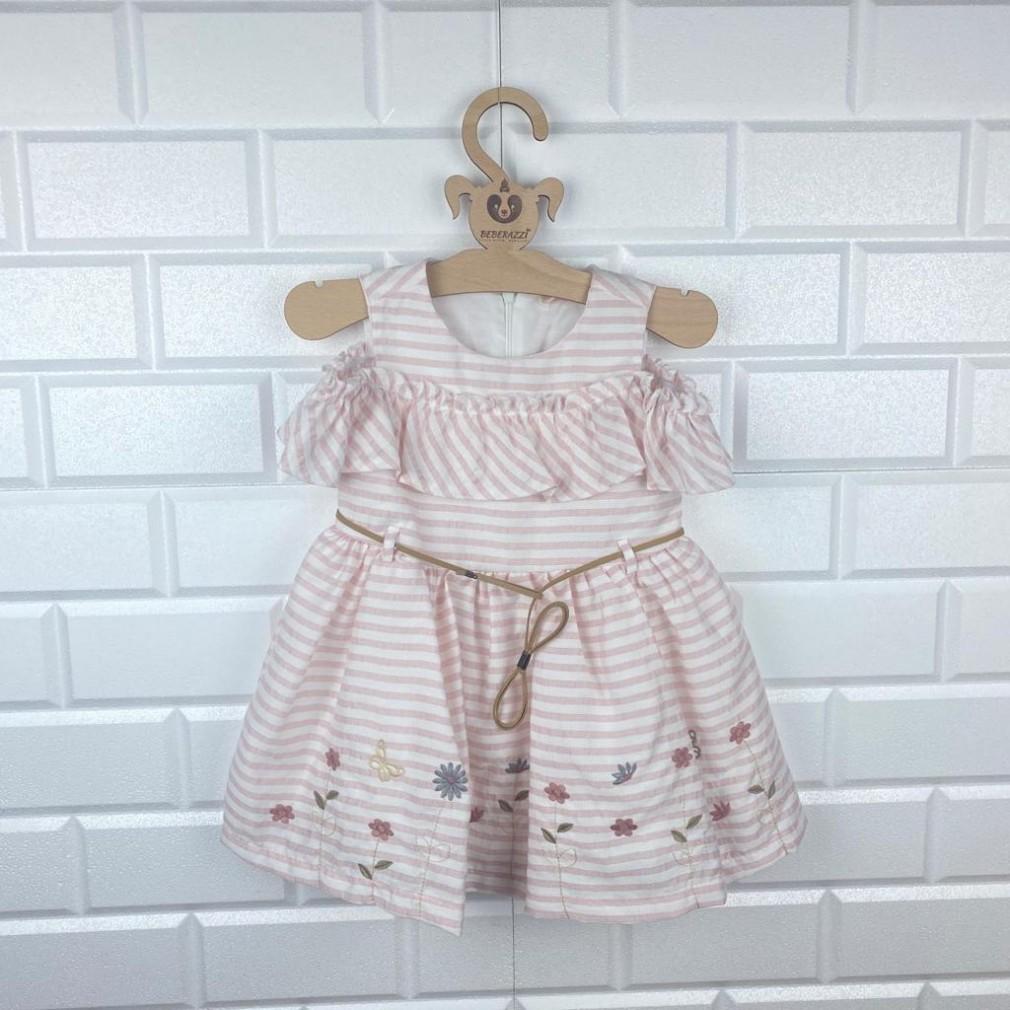 Yakut Çizgili Çiçekli Elbise - Pembe