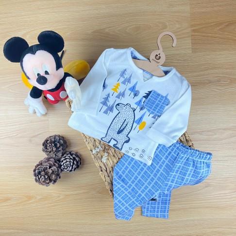V Yaka İkili Pijama Takımı - Mavi