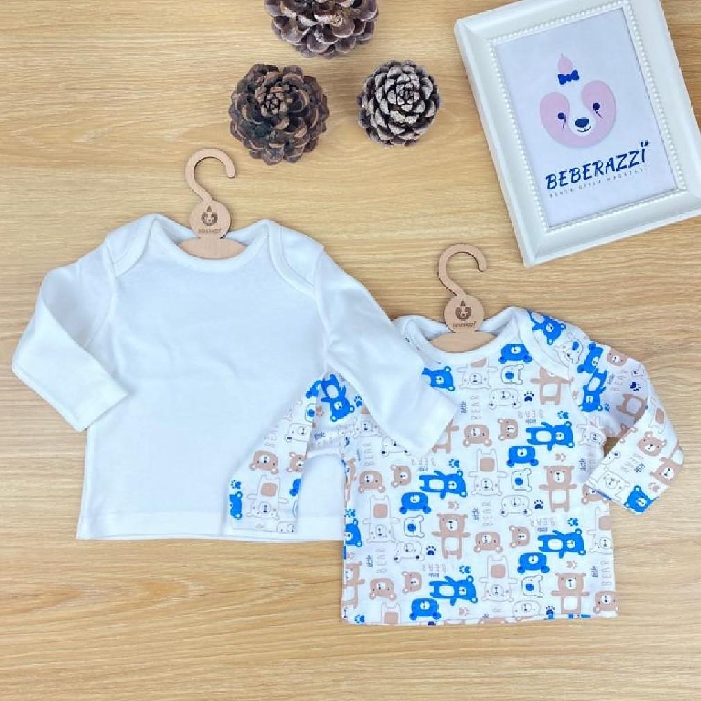 Ayıcık Temalı  İkili T-shirt - Mavi