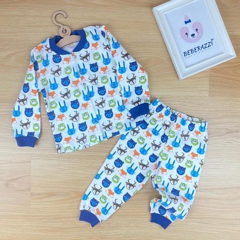 Önü Çıtçıtlı Pijama Takımı - Lacivert