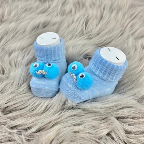 Bıyık Temalı Çorap - Mavi