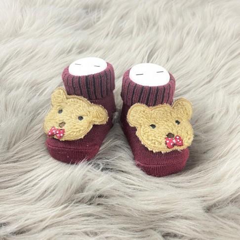 Papyonlu Ayı Temalı Çorap - Bordo