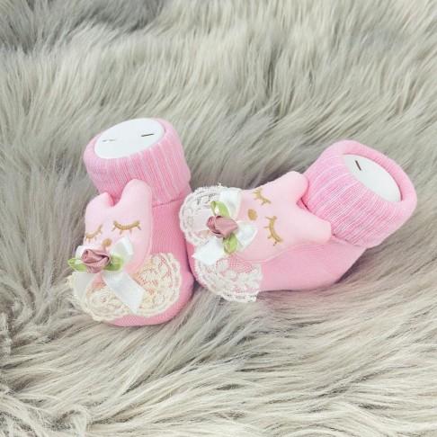 Diş Görünümlü Dantelli Çorap - Pembe