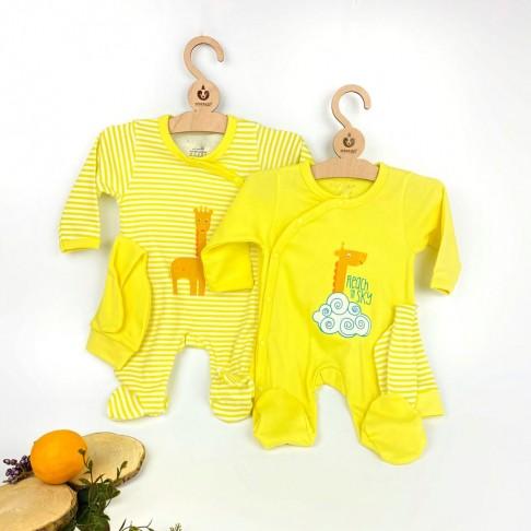 Zürafa Desenli İkili Tulum - Sarı
