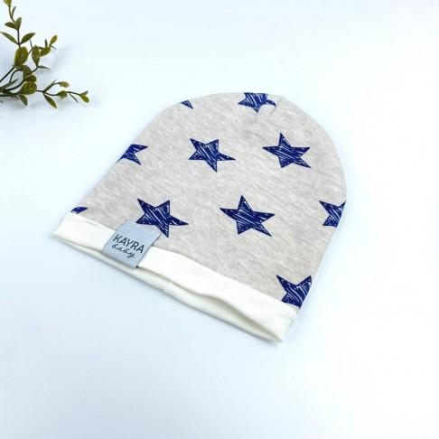Yıldız Temalı Erkek Şapka - Krem