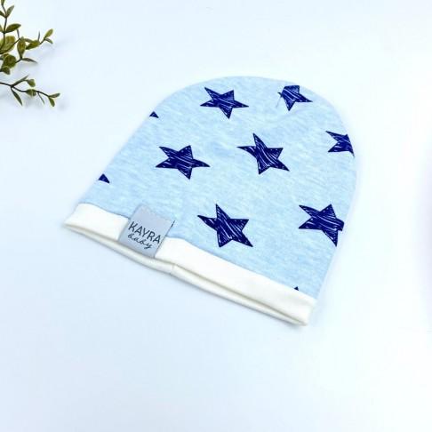 Yıldız Temalı Erkek Şapka - Mavi