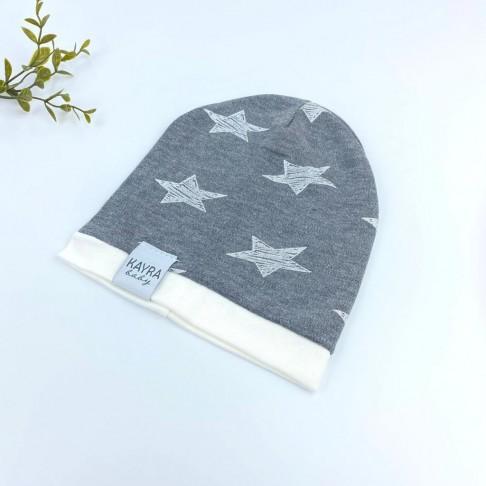 Yıldız Temalı Erkek Şapka - Koyu Gri