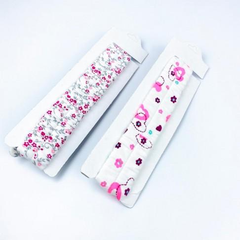 Çiçekli Ve Kalpli İkili Bandana - Pembe