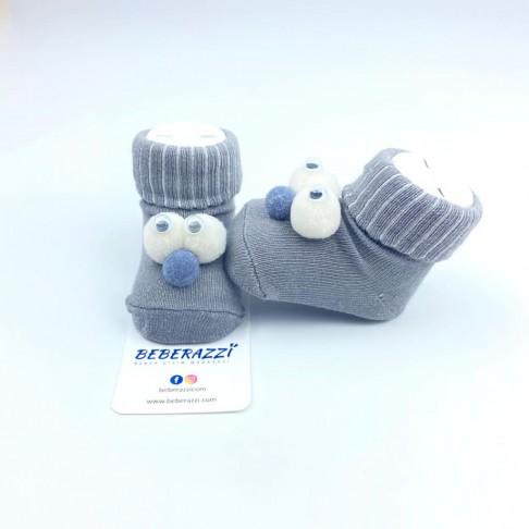 Kuş Gözü Detaylı Çorap - Gri