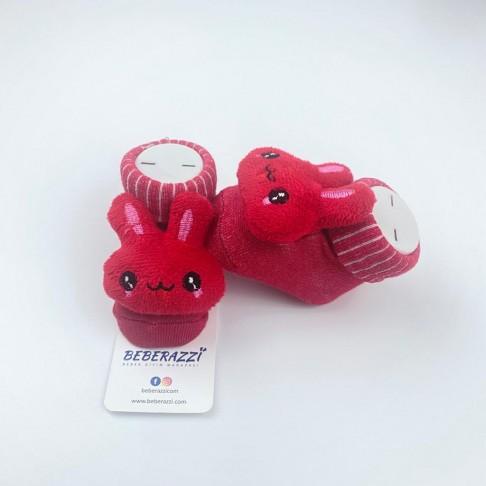 Tavşan Figürlü Çorap - Kırmızı
