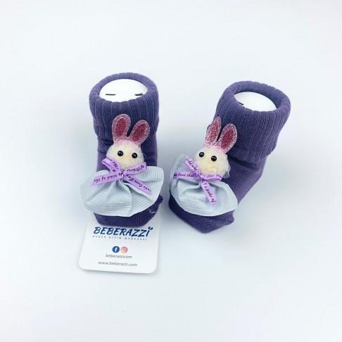 Tavşan Temalı Çorap - Mor