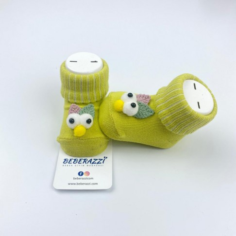 Kuş Detaylı Çorap - Yeşil