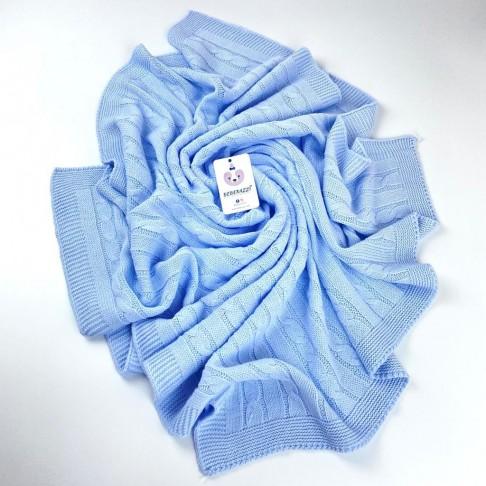 Örgü Desenli Battaniye - Mavi