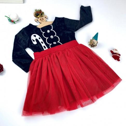 Baston Temalı Elbise - Kırmızı