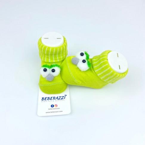 Kuş Detaylı Çorap - Açık Yeşil