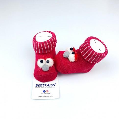 Kuş Detaylı Çorap - Kırmızı