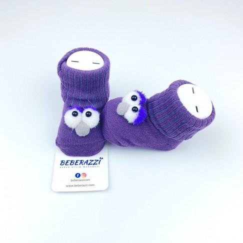 Kuş Detaylı Çorap - Mor