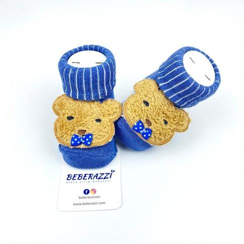 Papyonlu Ayı Temalı Çorap - Mavi