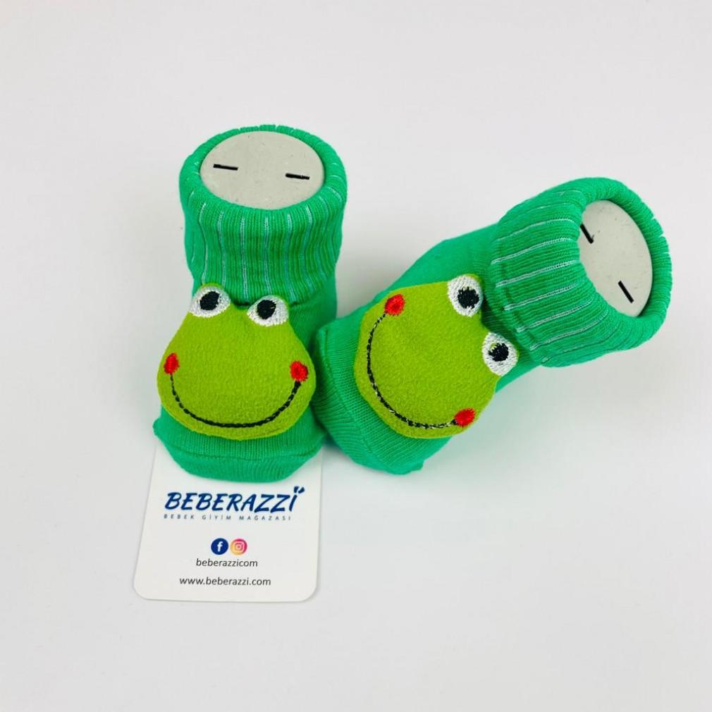 Kurbağa Temalı Çorap - Yeşil