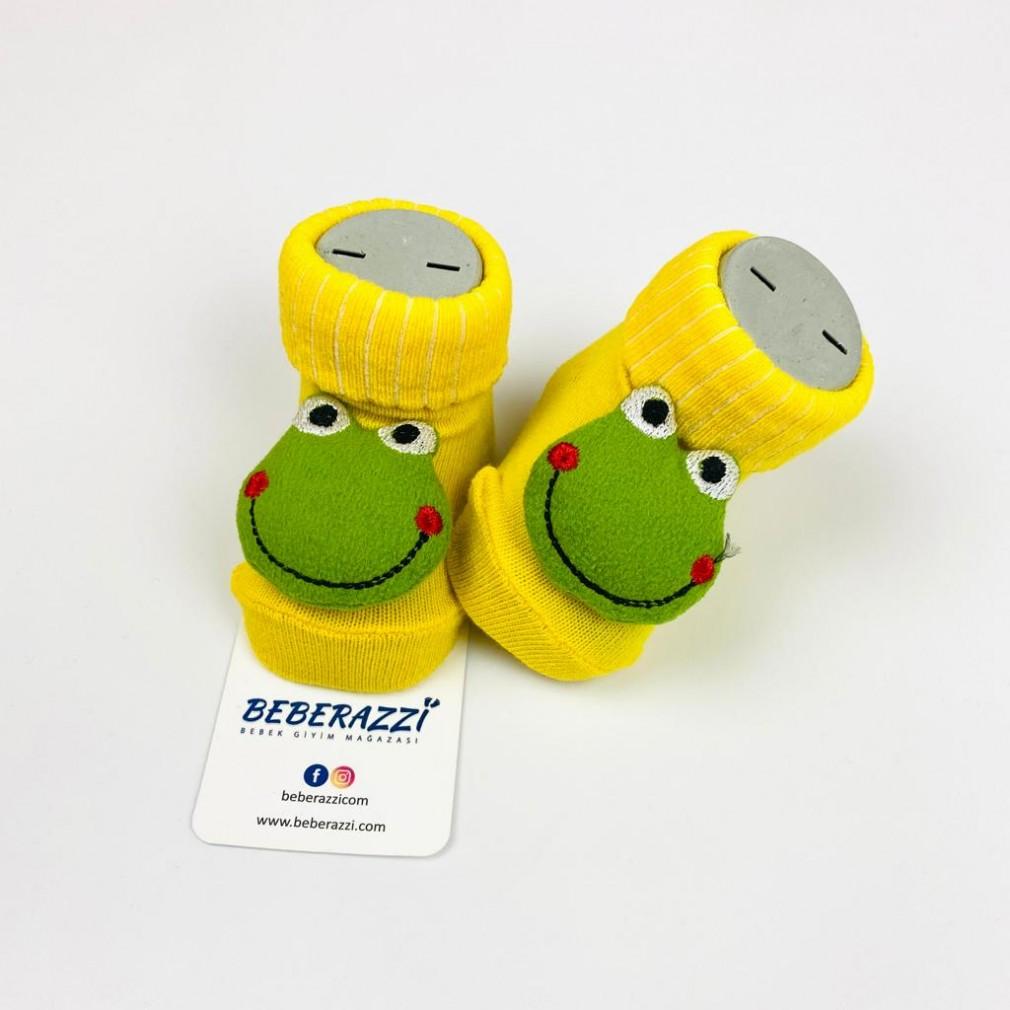 Kurbağa Temalı Çorap - Sarı
