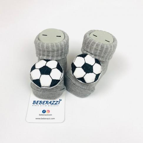 Futbol Topu Temalı Çorap - Gri