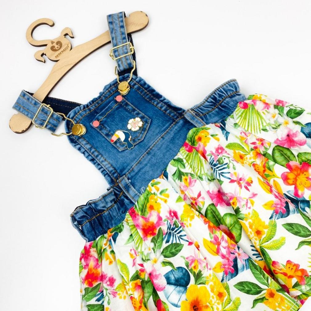 Kot Salopet Elbise - Sarı