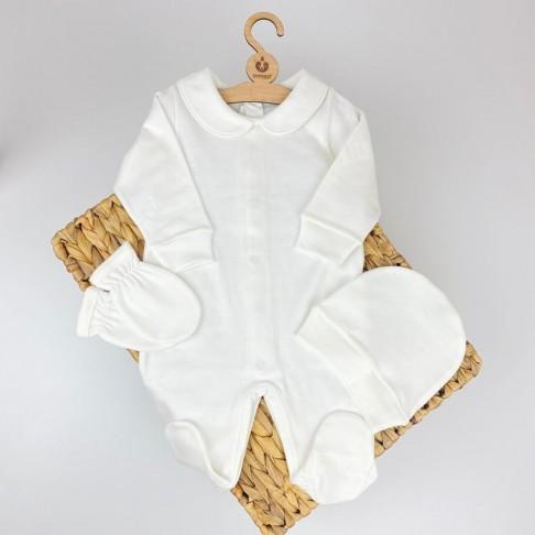 Bebe Yaka Üçlü Tulum - Beyaz