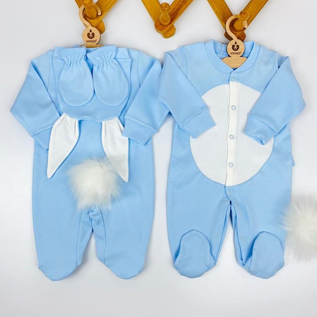 Tavşan Temalı Üçlü Tulum Takımı - Mavi