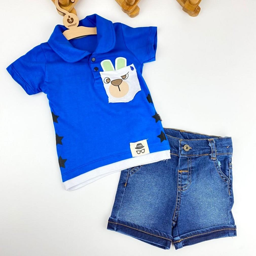 Polo Yaka İkili Takım - Mavi
