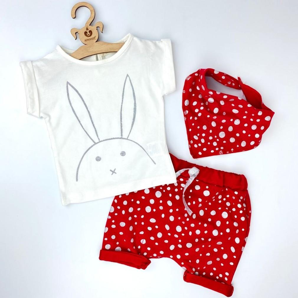 Simli Tavşan Detaylı Üçlü Takım - Kırmızı