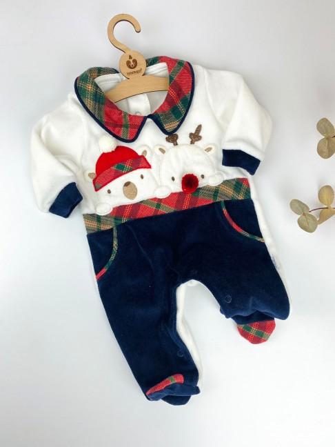 Ponponlu Bebe Yaka Tulum - Lacivert