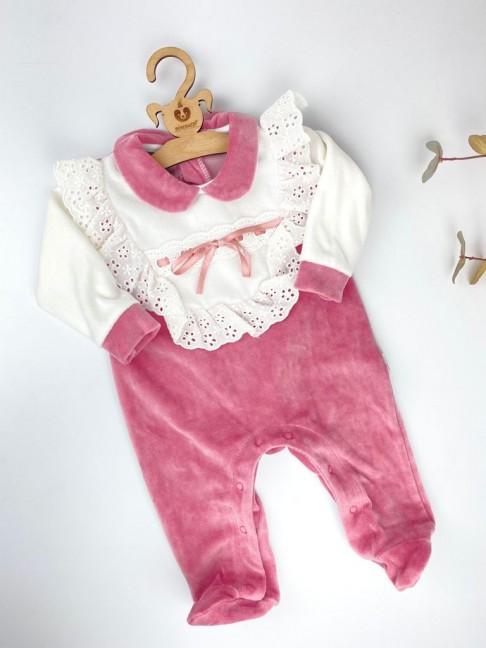 Güpürlü Bebe Yaka Tulum - Pembe
