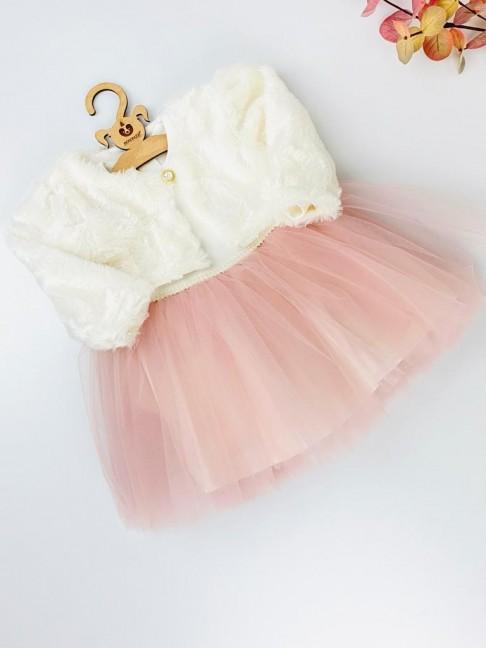 Tütülü Bolerolu Elbise - Pembe